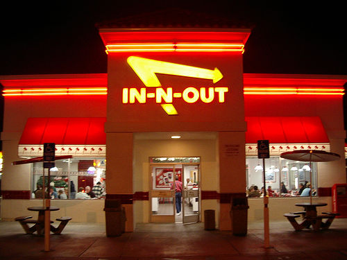 In N Out Burger in LA