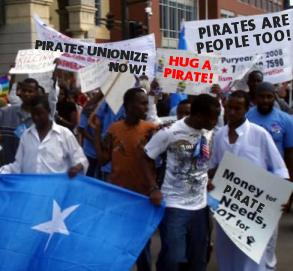 Somali Pirates protest and demonstrate, demanding better treatment including a union with benefits and healthcare coverage